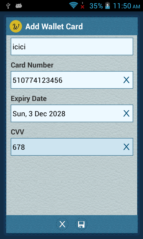 Creating New Wallet Card